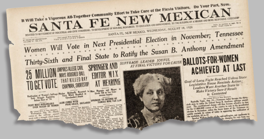 Santa Fe New Mexican clipping on women winning the right to vote